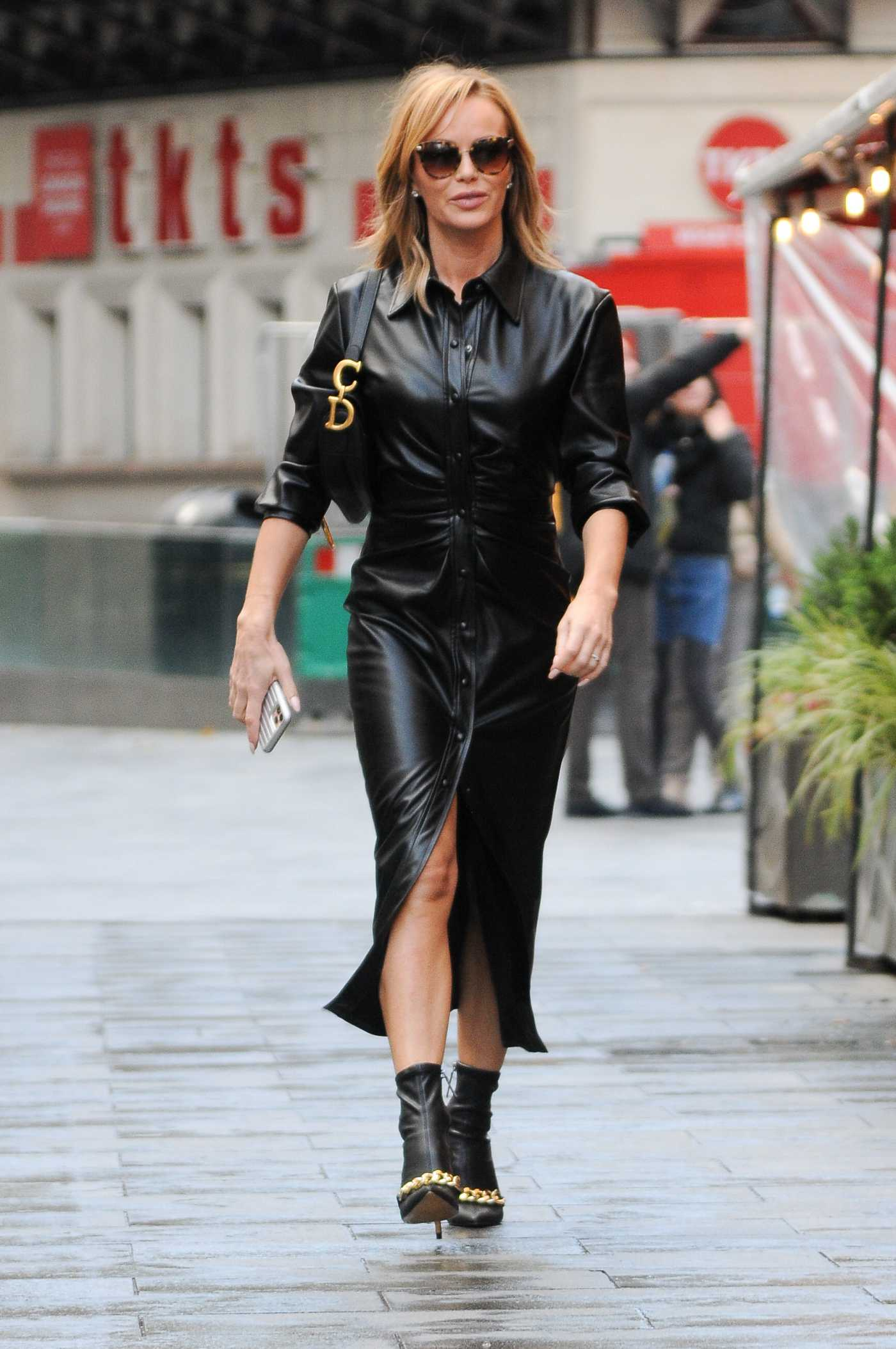 Amanda Holden in a Black Leather Dress Arrives at the Heart Radio Show in London 11/02/2020