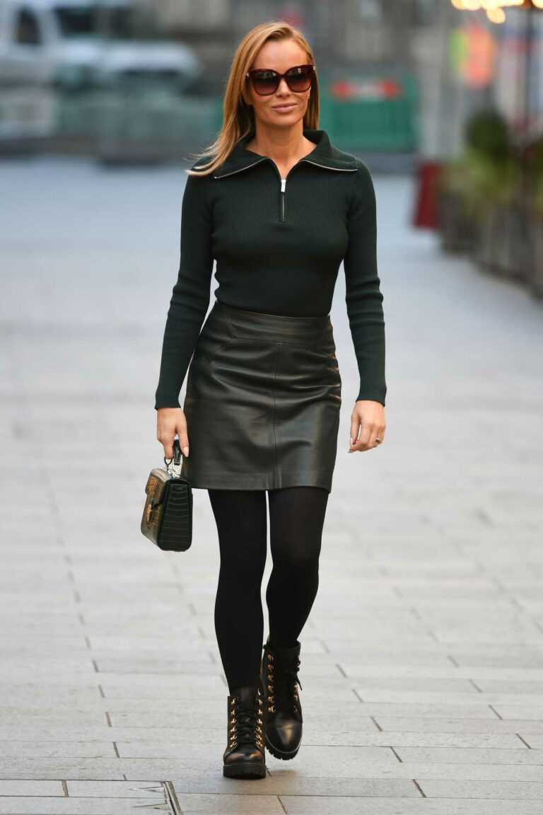 Amanda Holden in a Dark Green Outfit