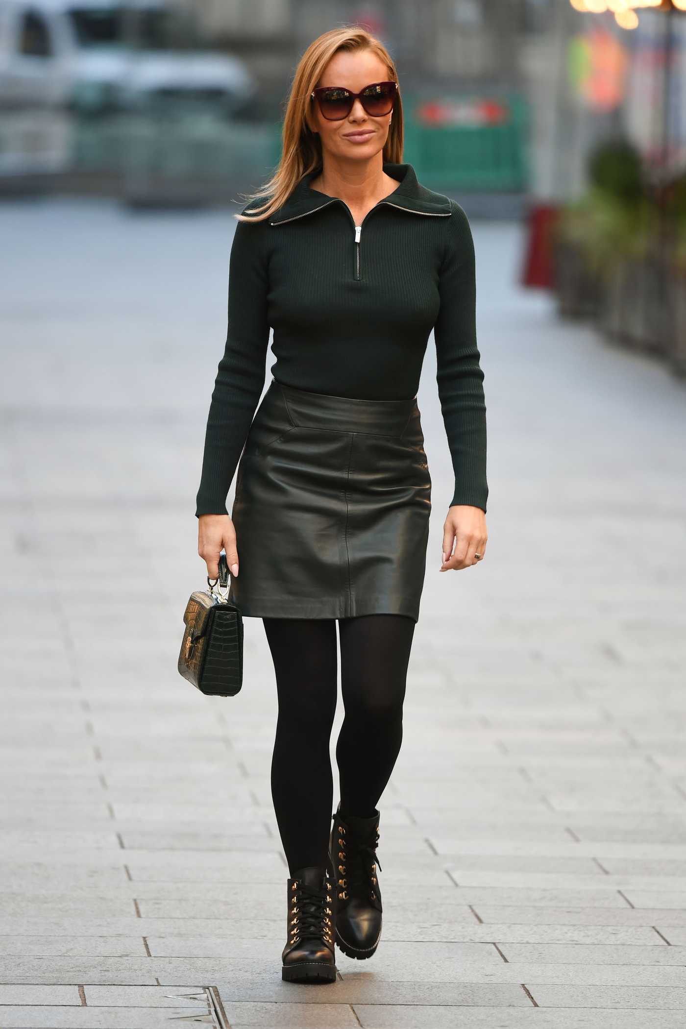 Amanda Holden in a Dark Green Outfit Leaves the Global Studios in London 11/04/2020