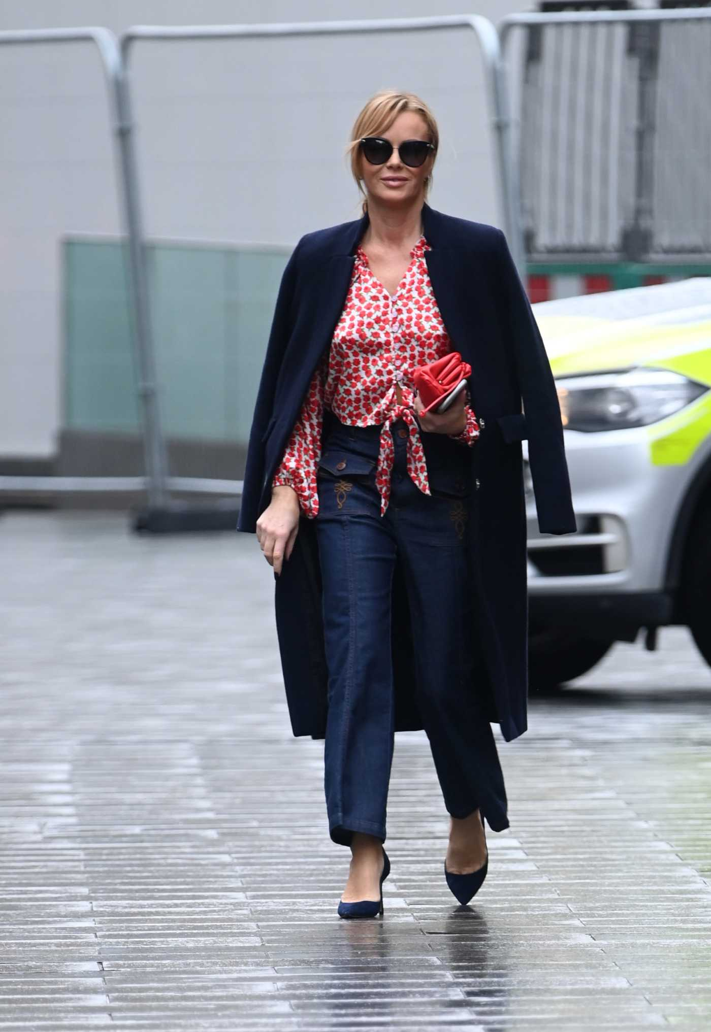 Amanda Holden in a Red Floral Blouse Leaves the Global Radio in London 11/13/2020