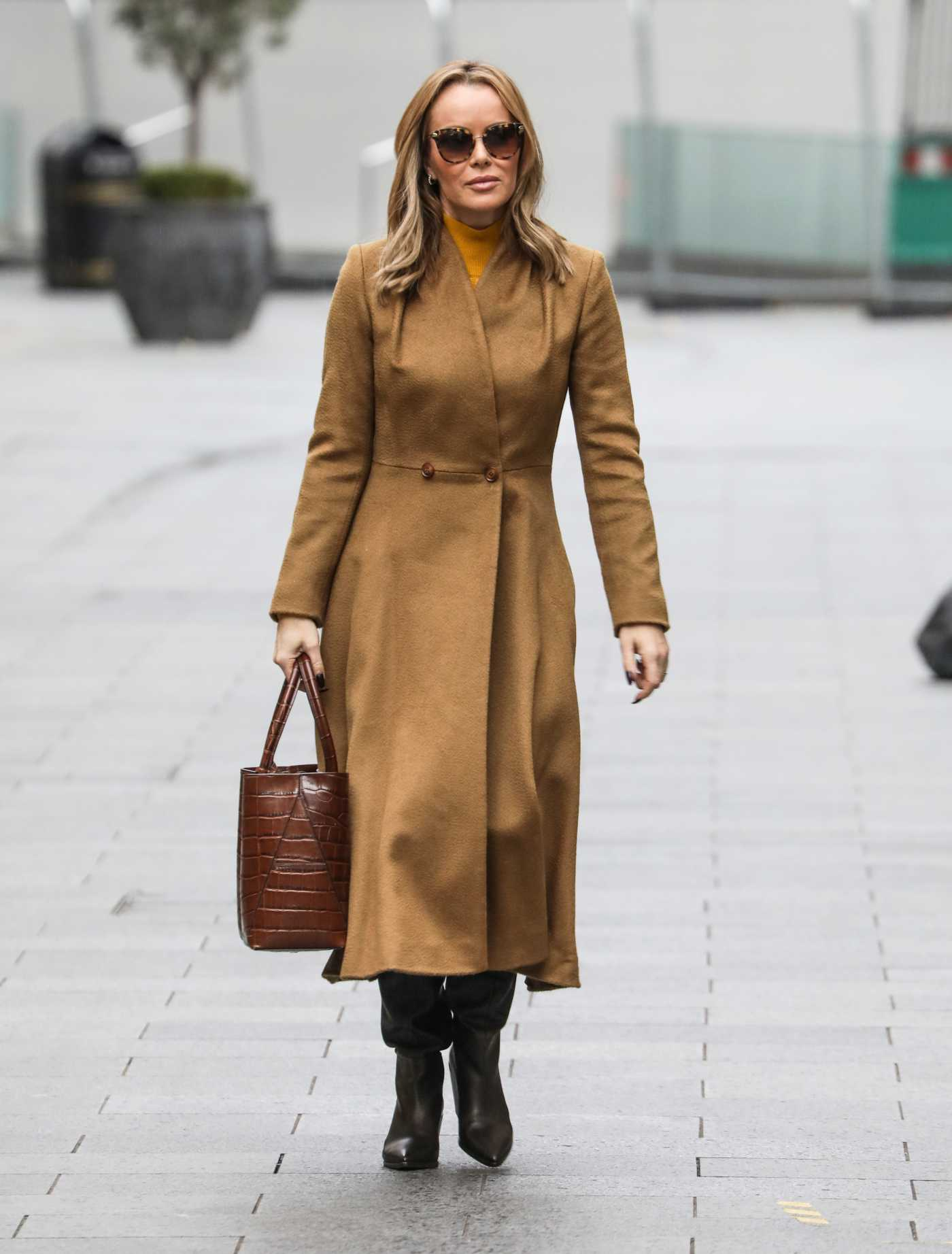 Amanda Holden in a Tan Coat Departs the Global Radio Studios in London 11/19/2020