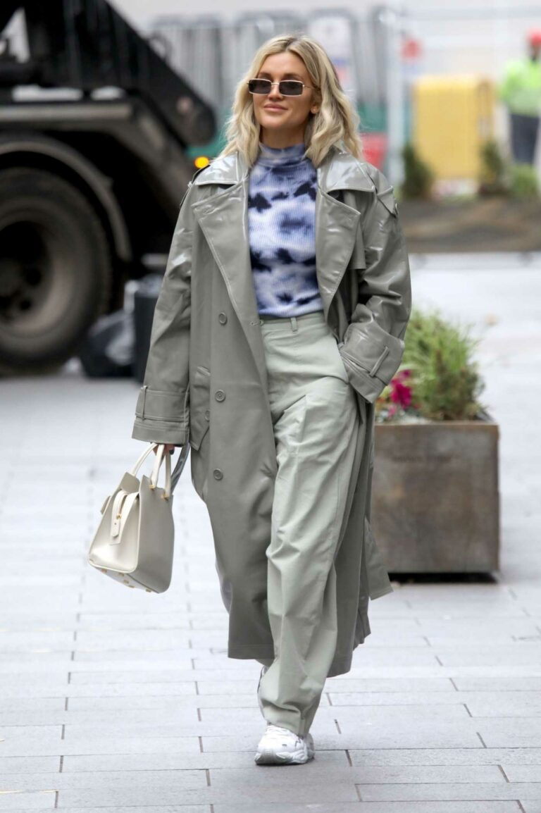 Ashley Roberts in a Grey Leather Trench Coat