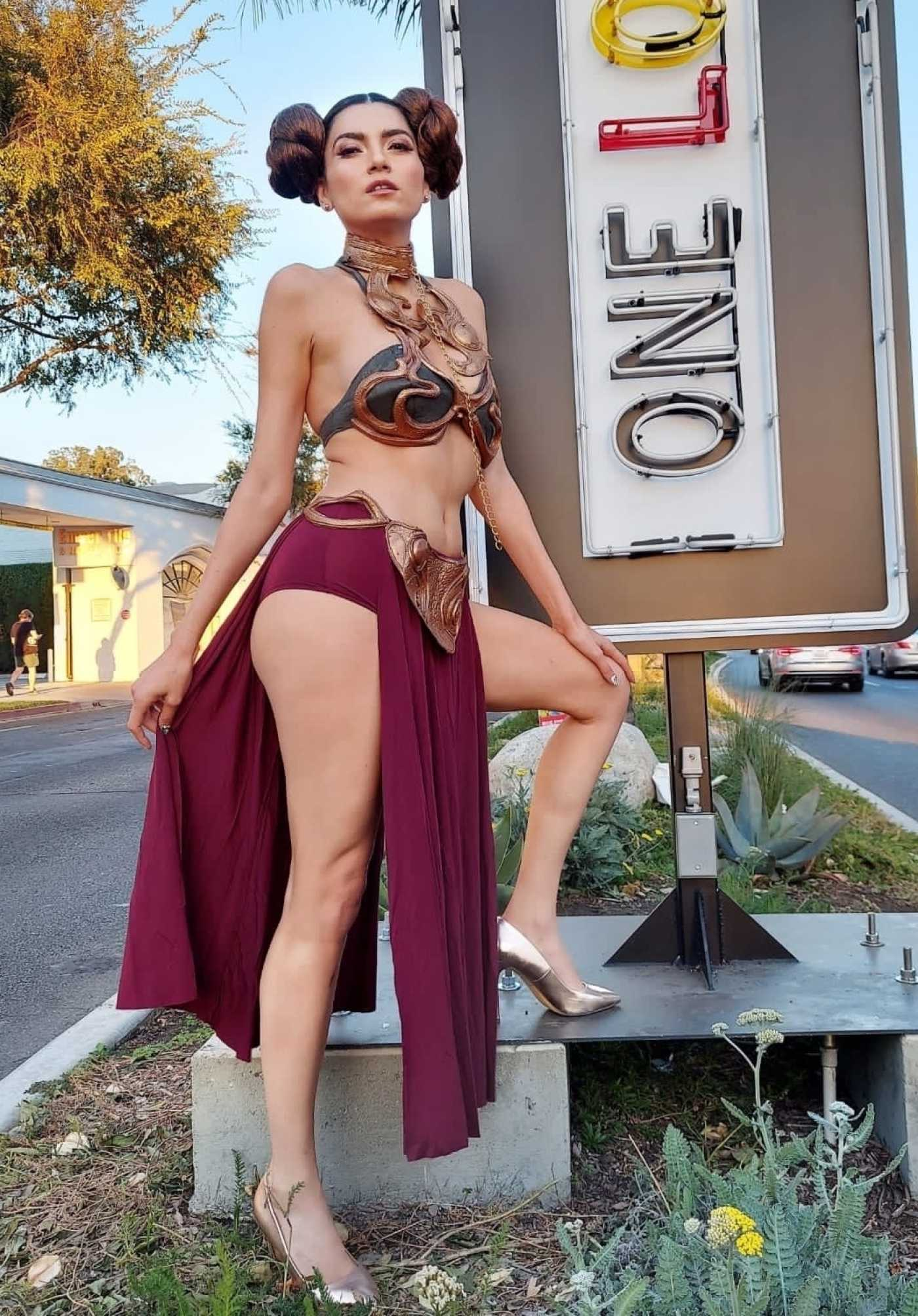 Blanca Blanco Gets Ready for Halloween in Princess Leia Costume in West Holywood 10/31/2020