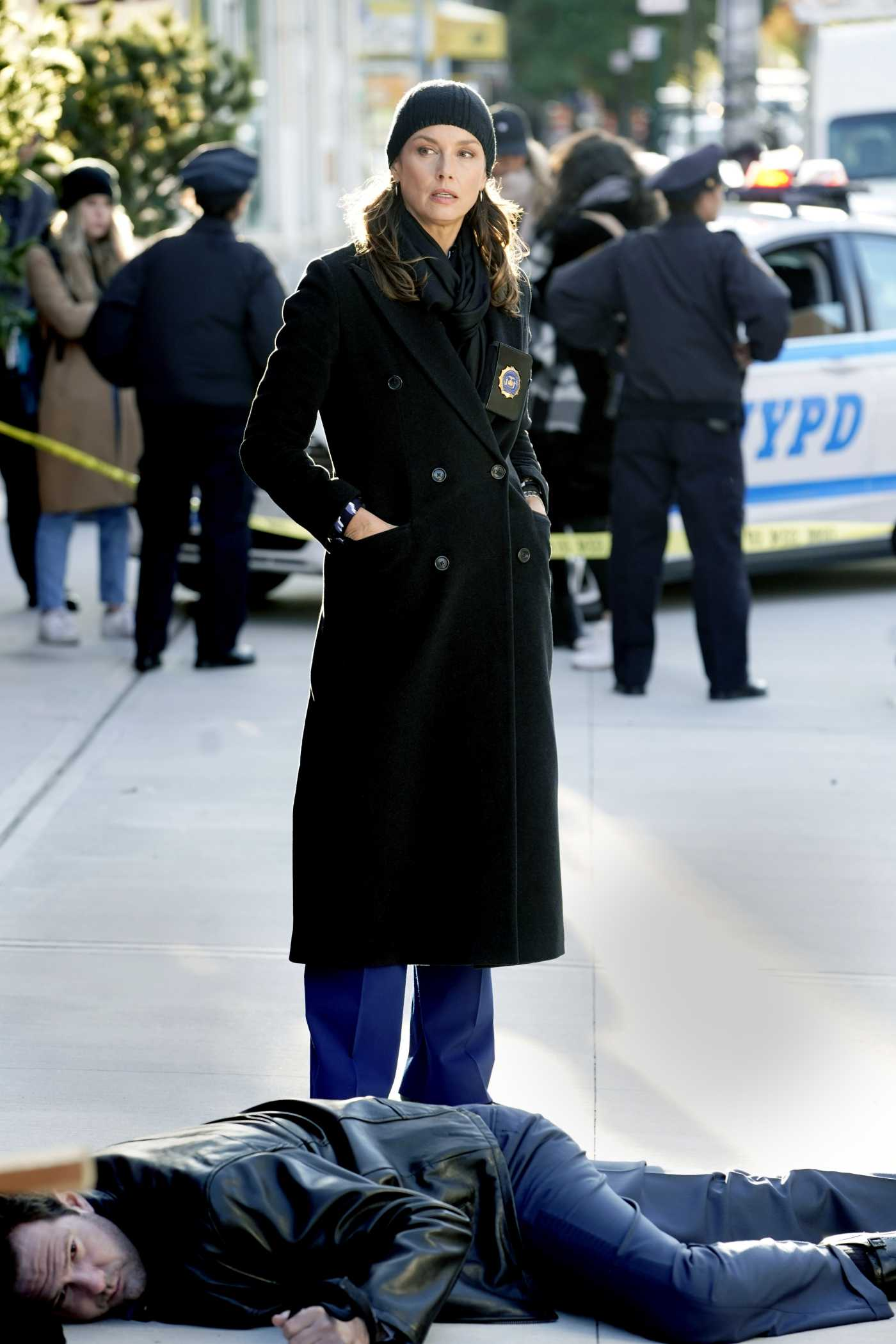 Bridget Moynahan in a Black Coat on the Set of the Blue Bloods in Brooklyn, NYC 11/04/2020