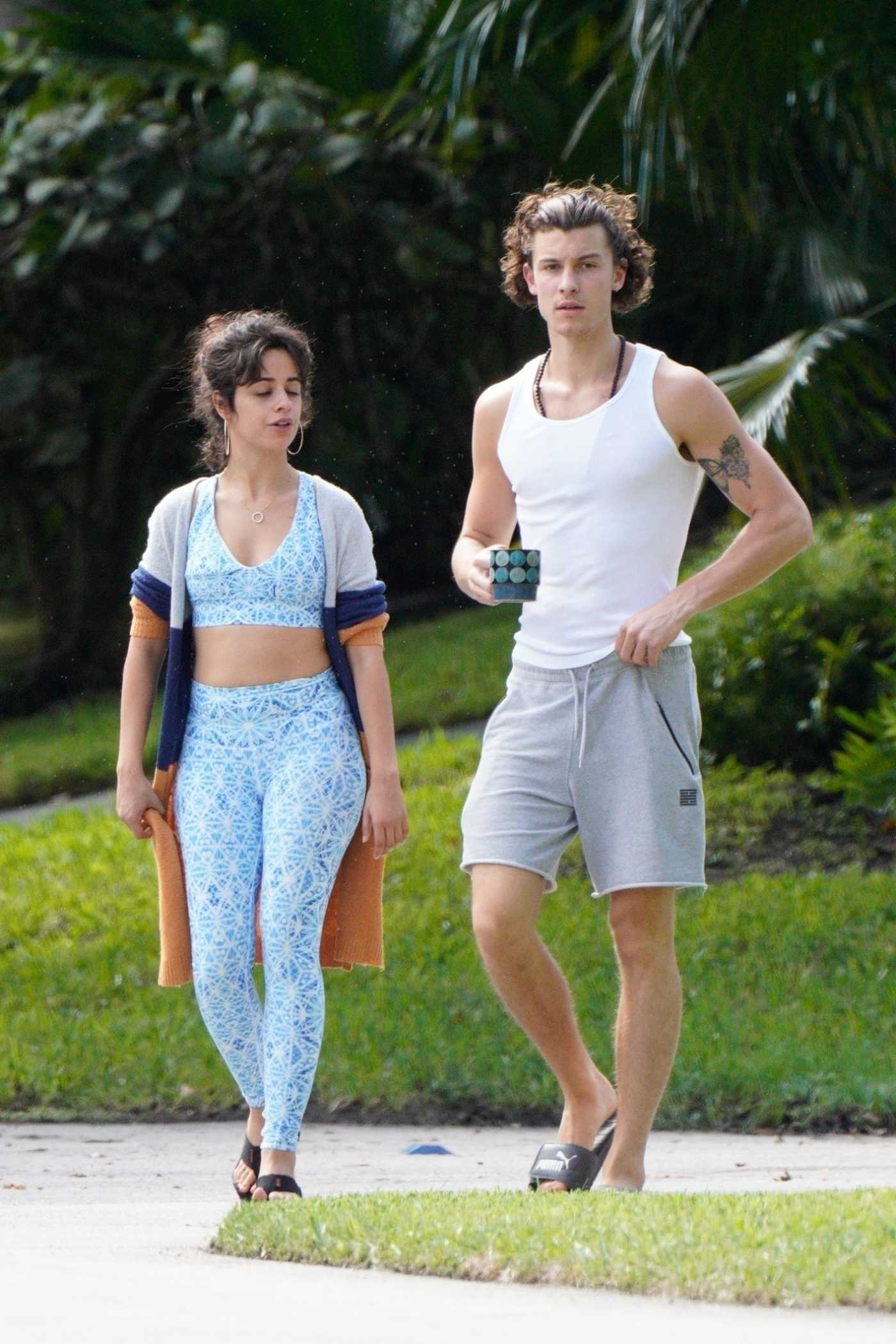 Camila Cabello in a Light Blue Workout Ensemble Was Seen Out with Shawn Mendes in Miami 11/15/2020