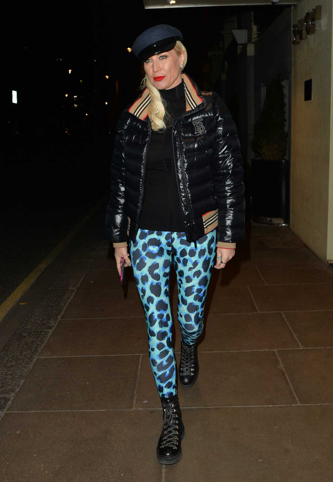Denise van Outen in a Blue Animal Print Leggings Leaves a Photoshoot in Mayfair, London 11/23/2020