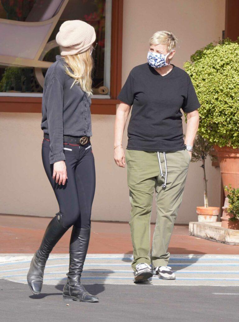 Ellen DeGeneres in an Olive Pants