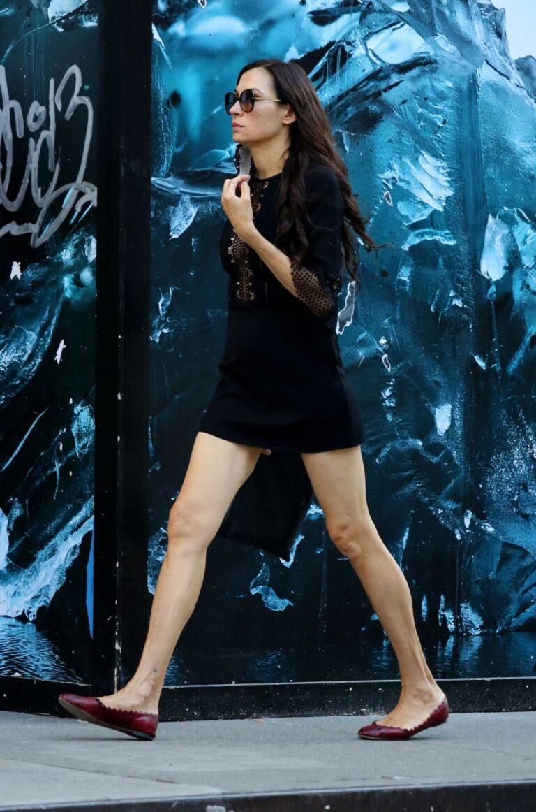 Famke Janssen in a Black Mini Dress