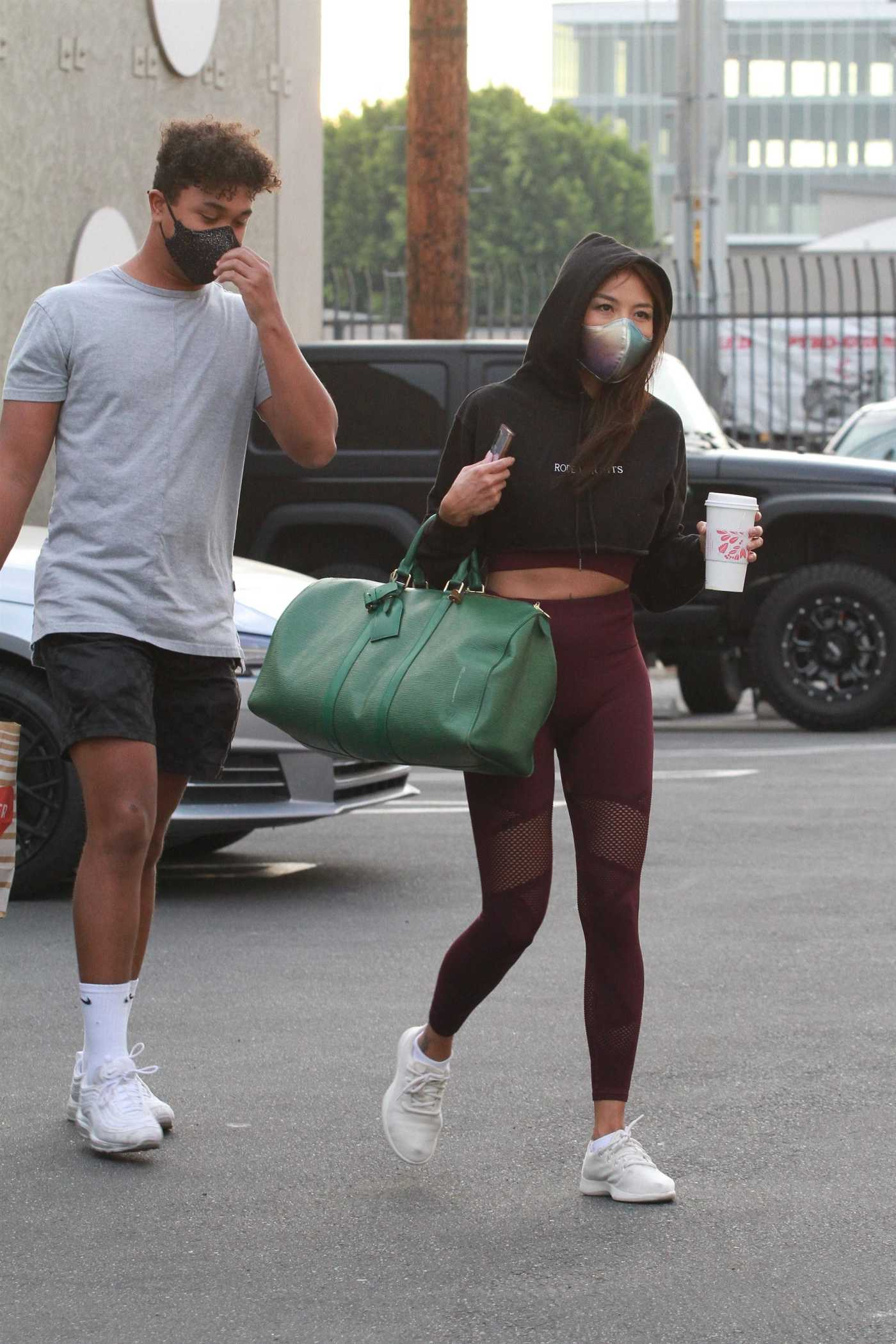 Jeannie Mai in a Purple Leggings Arrives at the DWTS Studio in Los Angeles 11/01/2020
