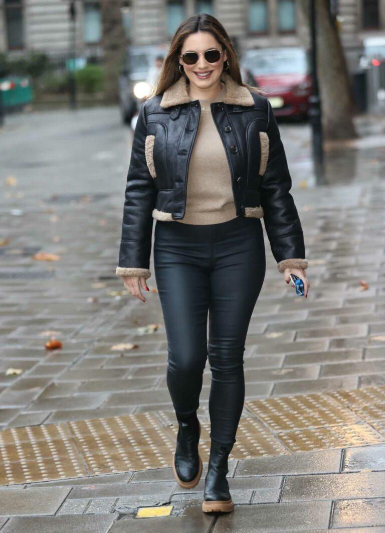 Kelly Brook in a Black Leather Jacket