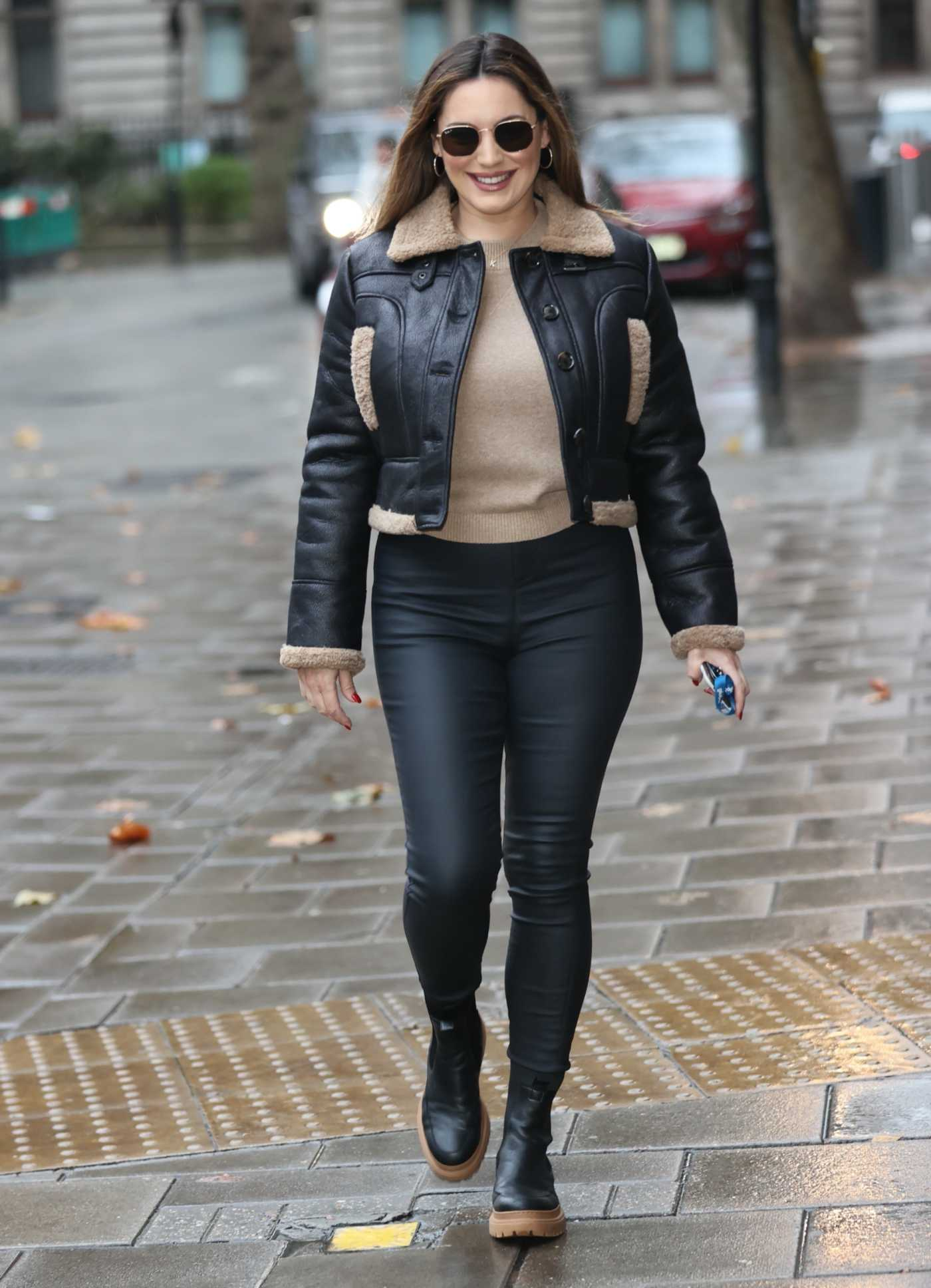 Kelly Brook in a Black Leather Jacket Arrives at the Heart Radio Station in London 11/20/2020