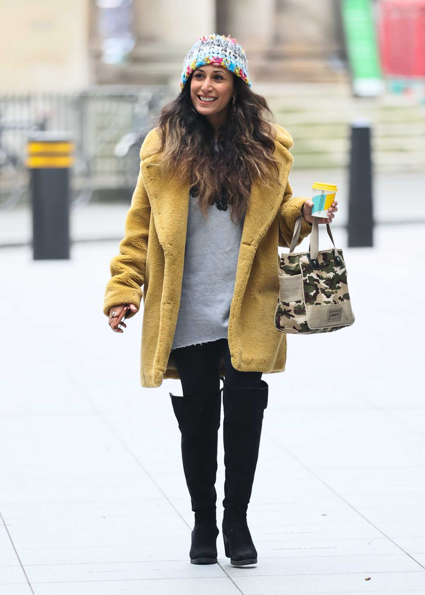 Preeya Kalidas in a Yellow Fur Coat Arrives  at BBC Broadcasting House in Lodon 11/28/2020