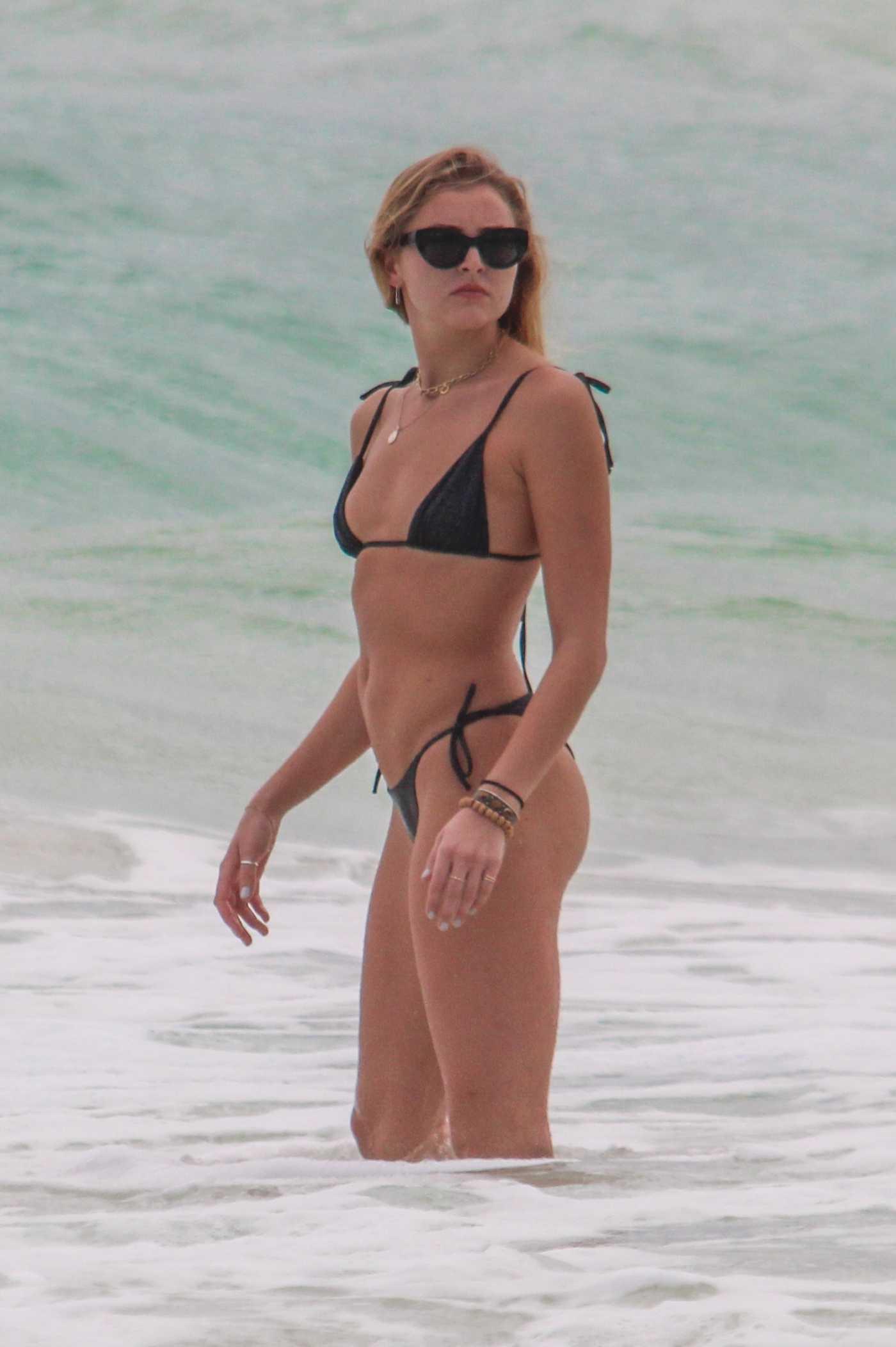 Rachel Hilbert in a Black Bikini on the Beach in Tulum, Mexico 11/27/2020
