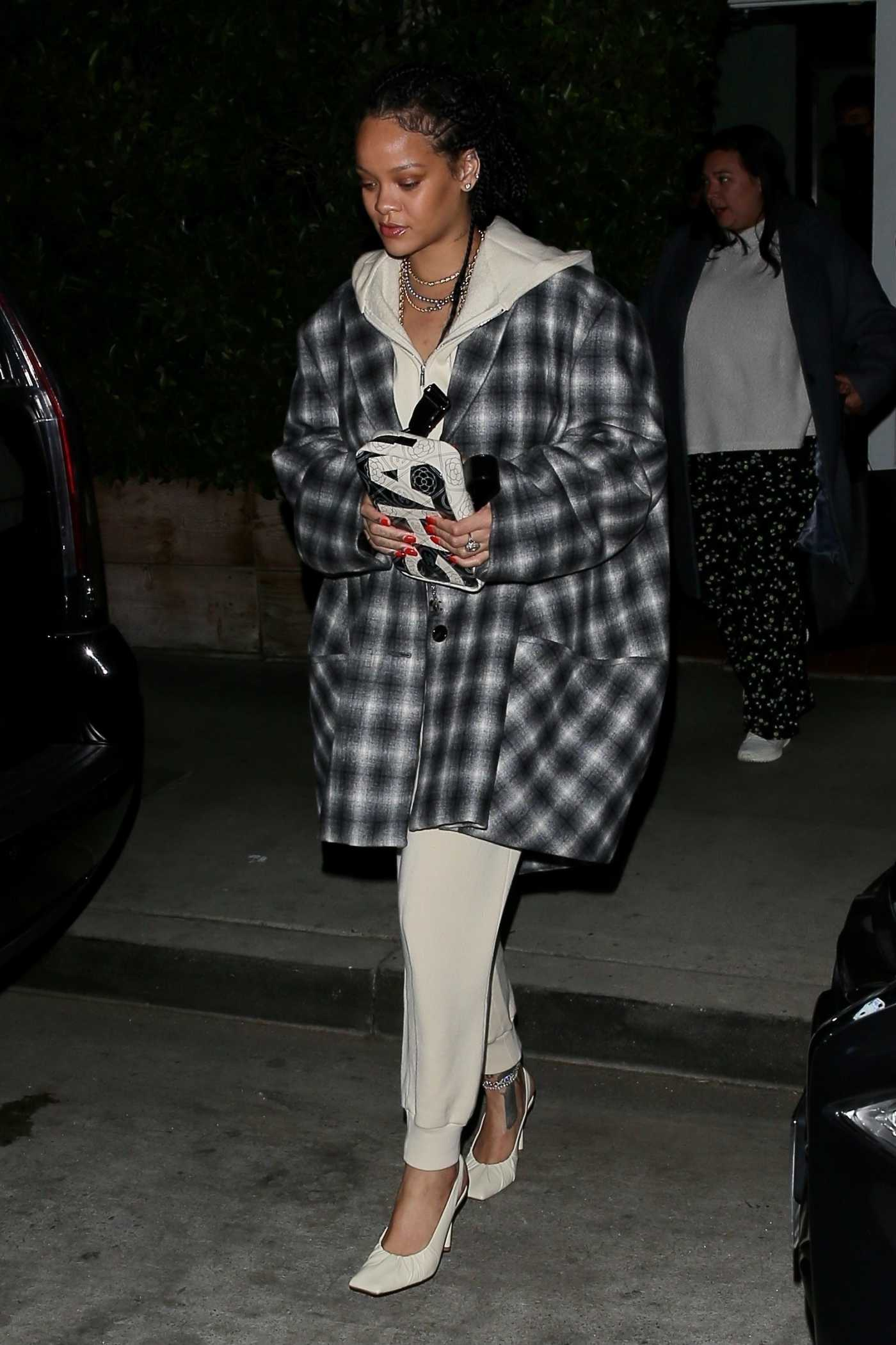 Rihanna in a Plaid Coat Leaves Giorgio Baldi Restaurant in Santa Monica 11/12/2020