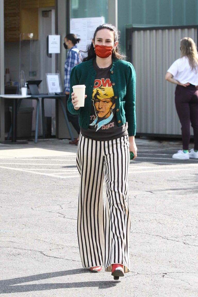 Rumer Willis in a Black and White Striped Pants