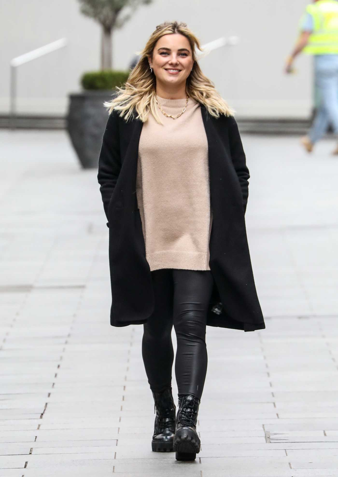 Sian Welby in a Black Coat Leaves the Global Radio Studios in London 11/27/2020