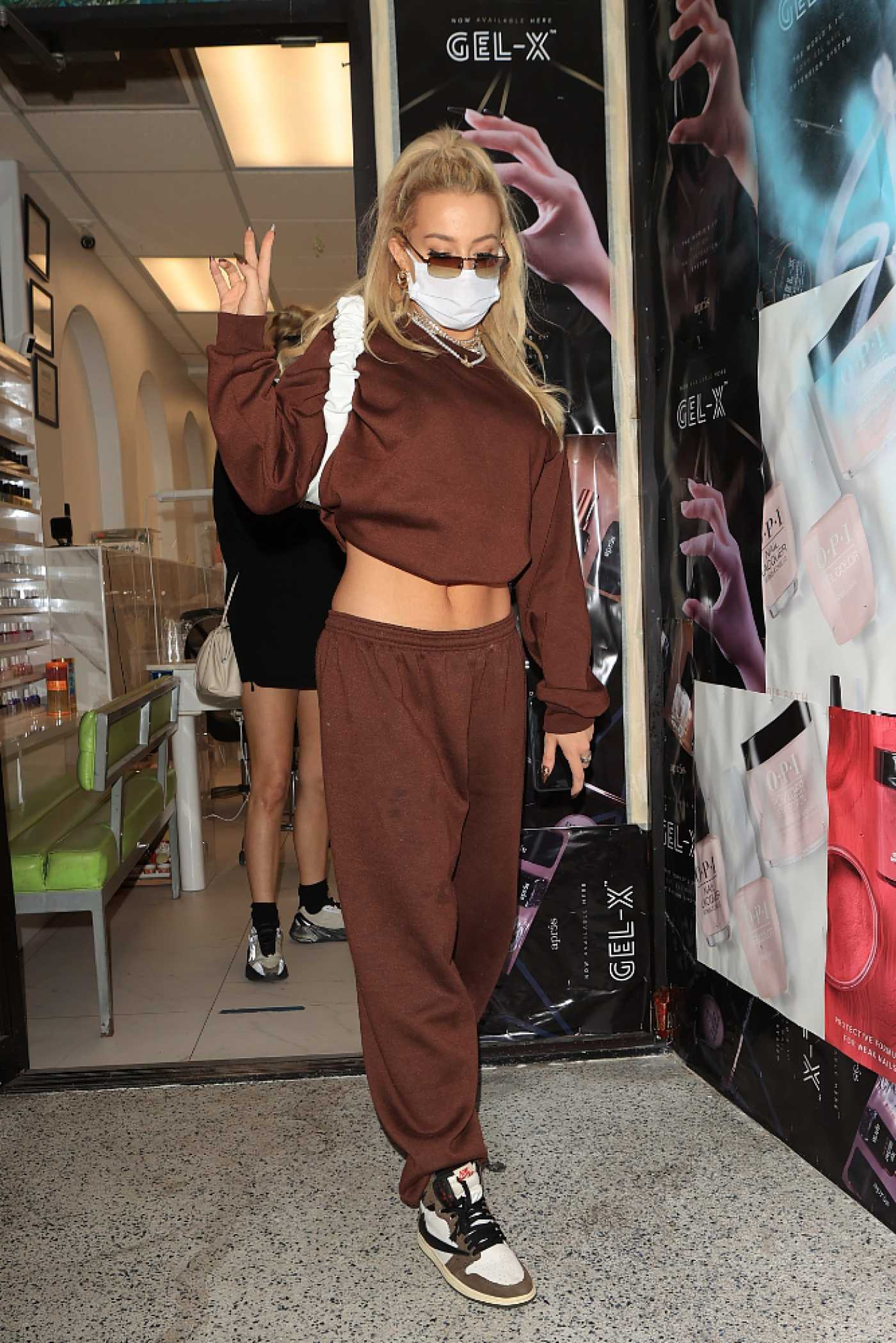Tana Mongeau in a Brown Sweatsuit Leaves a Nail Salon in West Hollywood 11/23/2020