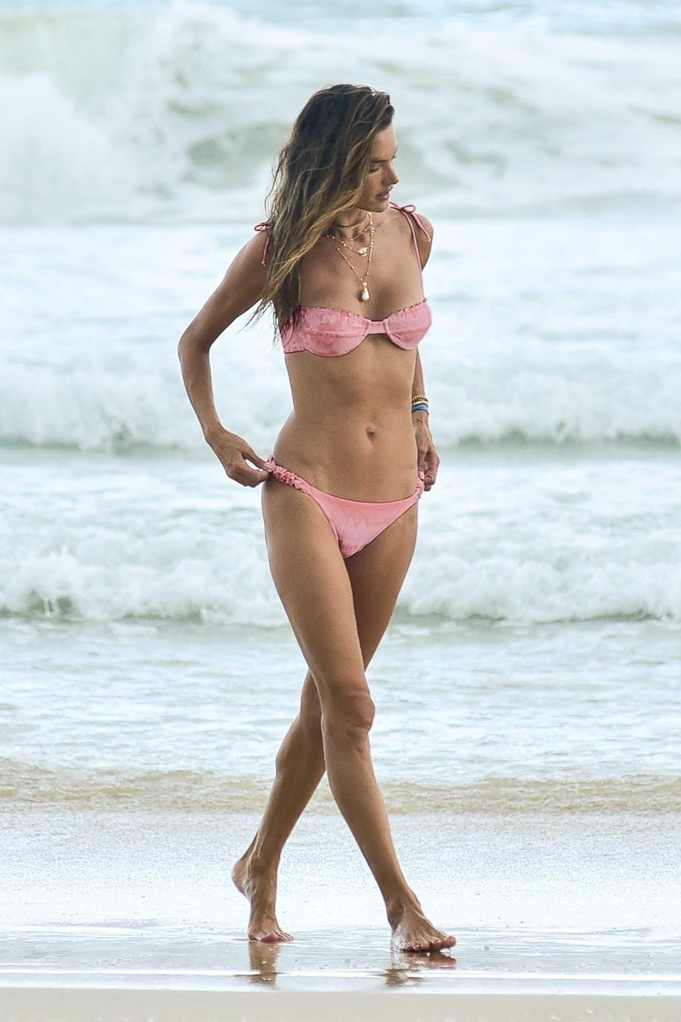 Alessandra Ambrosio in a Pink Bikini on the Beach in Florianopolis 12/20/2020