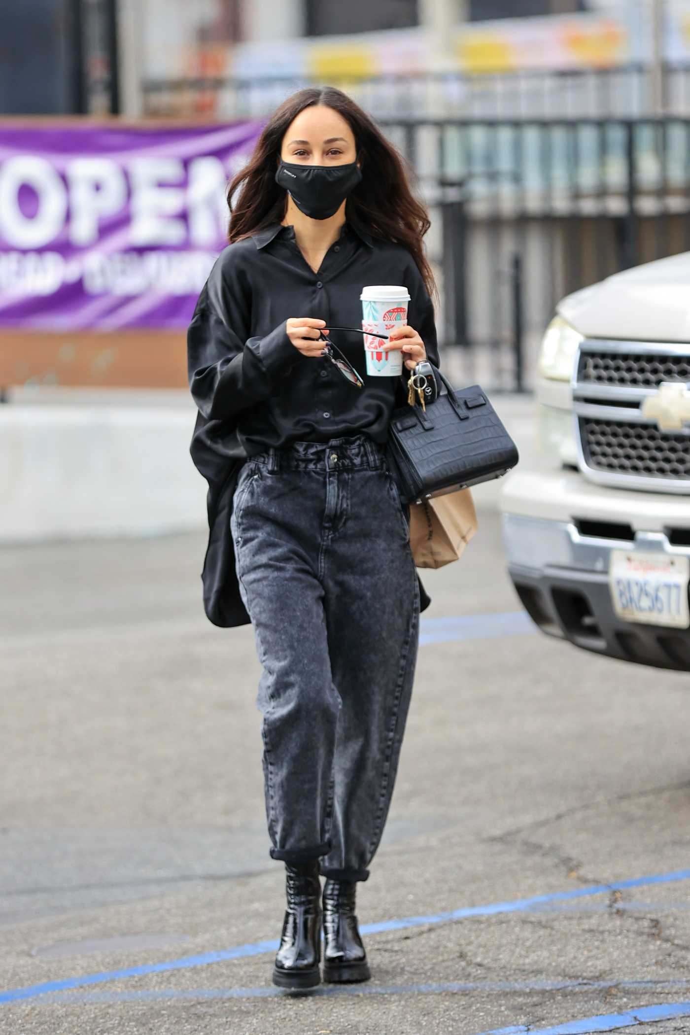 Cara Santana in a Black Outfit Picks Up a Coffee in West Hollywood 12/11/2020