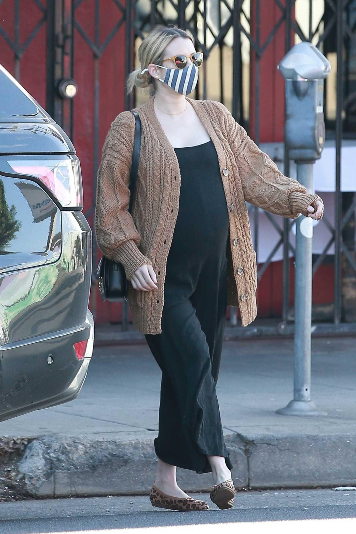 Emma Roberts in a Tan Cardigan Goes for a Solo Coffee Run in Los Feliz 12/09/2020