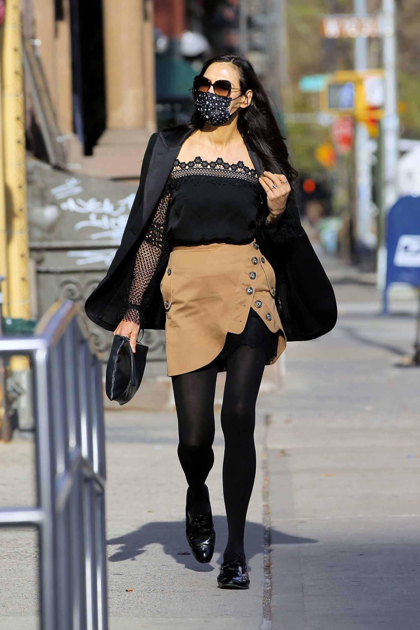 Famke Janssen in a Black Blazer Was Seen Out in New York 12/13/2020
