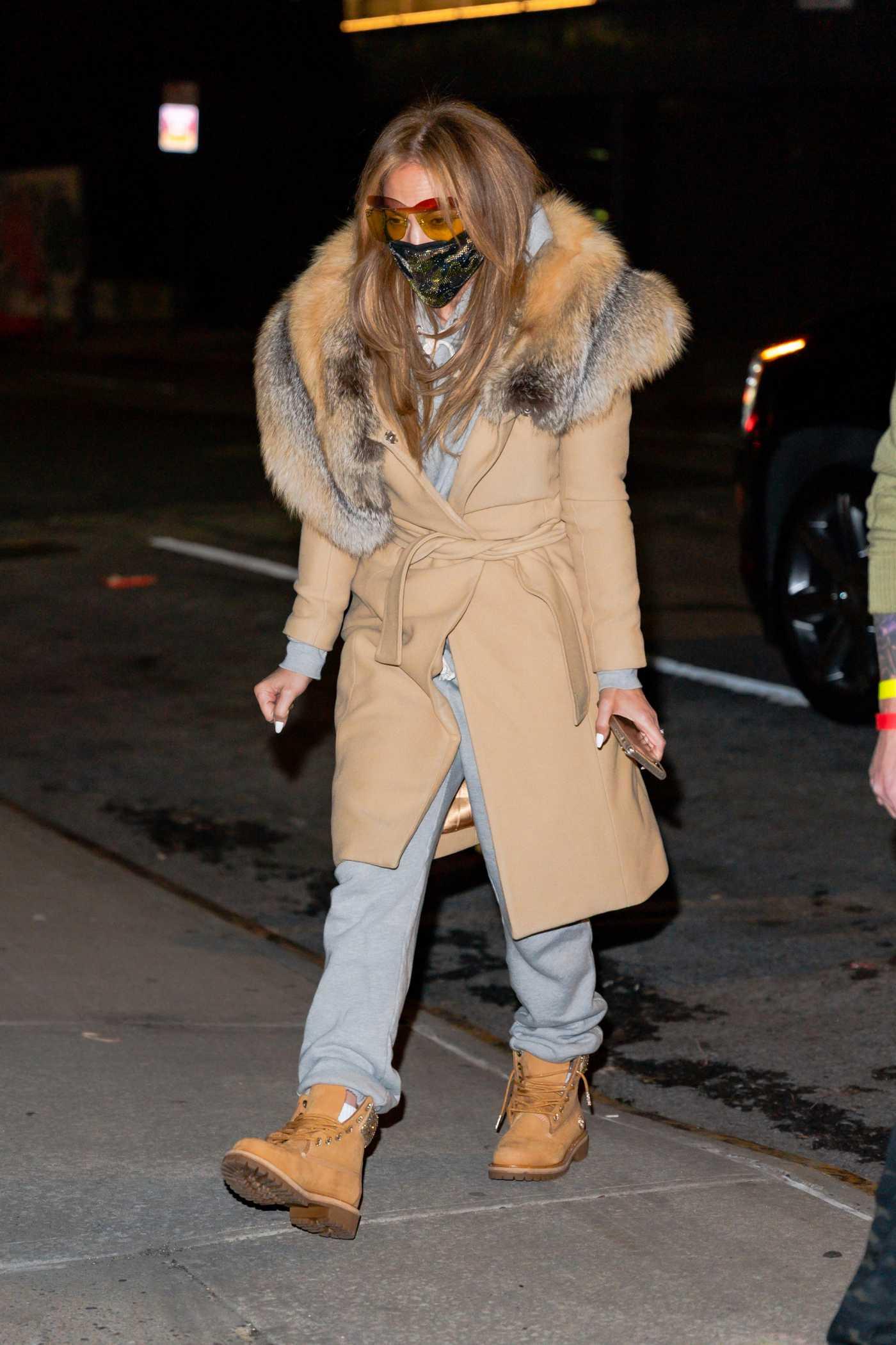 Jennifer Lopez in a Beige Coat Leaves a Studio in New York 12/27/2020