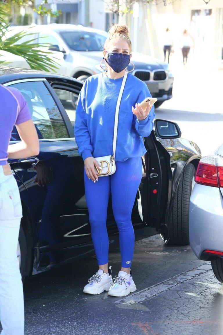 Jennifer Lopez in a Blue Workout Ensemble
