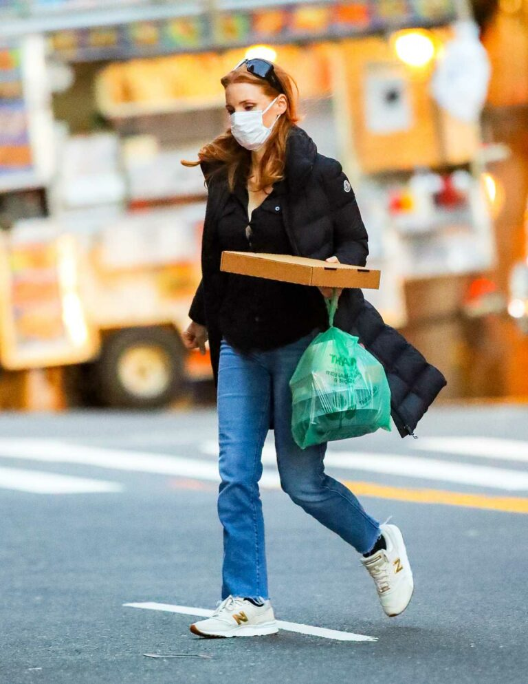 Jessica Chastain in a Protective Mask