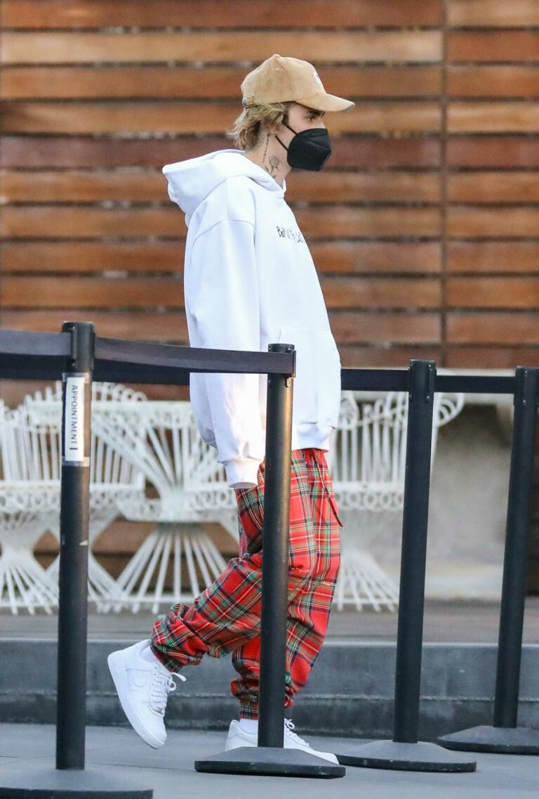 Justin Bieber in a Red Plaid Pants