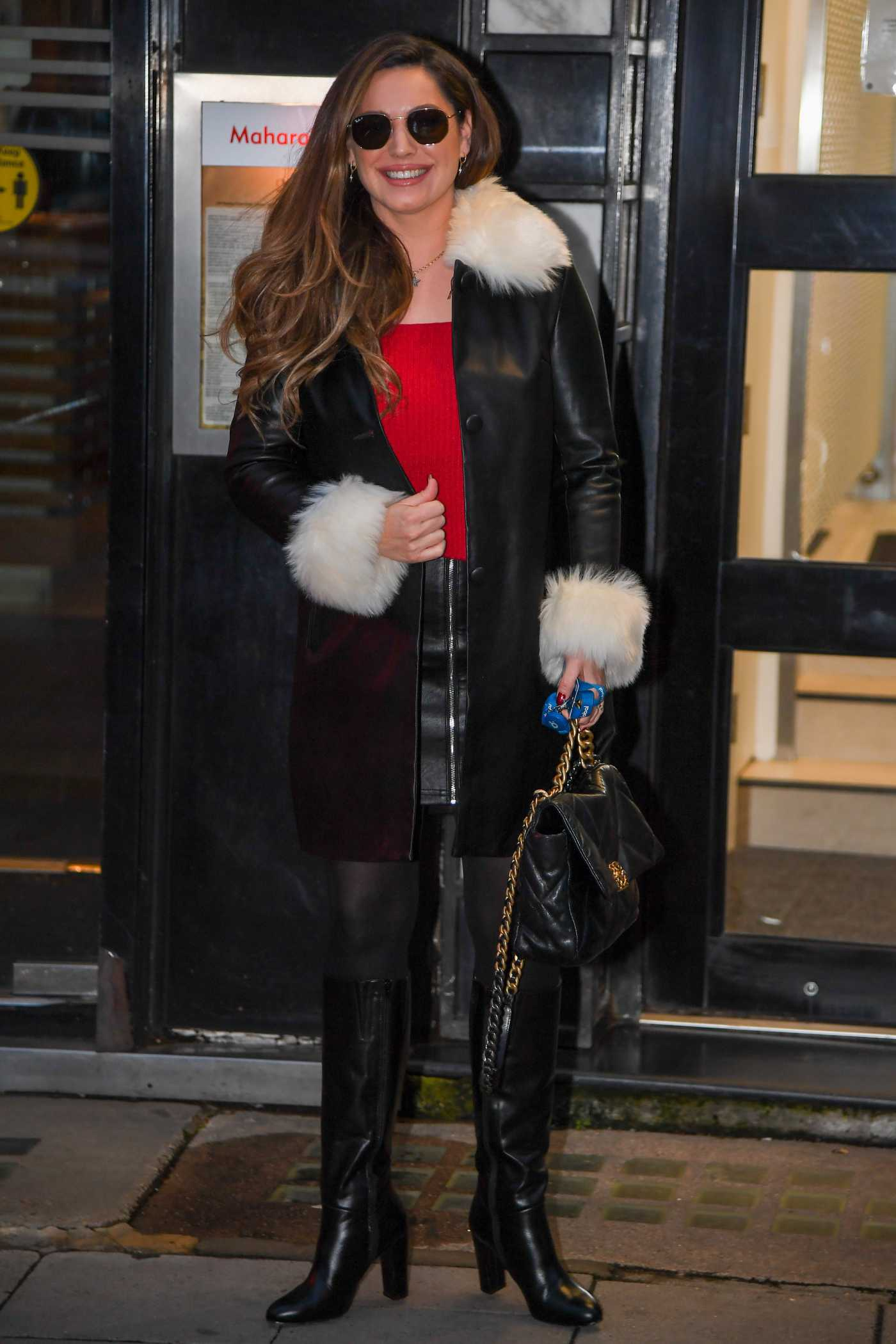 Kelly Brook in a Black Leather Coat Arrives at the Global Studios in London 12/09/2020