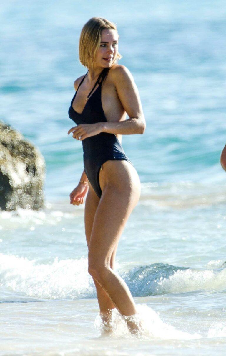 Kimberley Garner in a Black Swimsuit