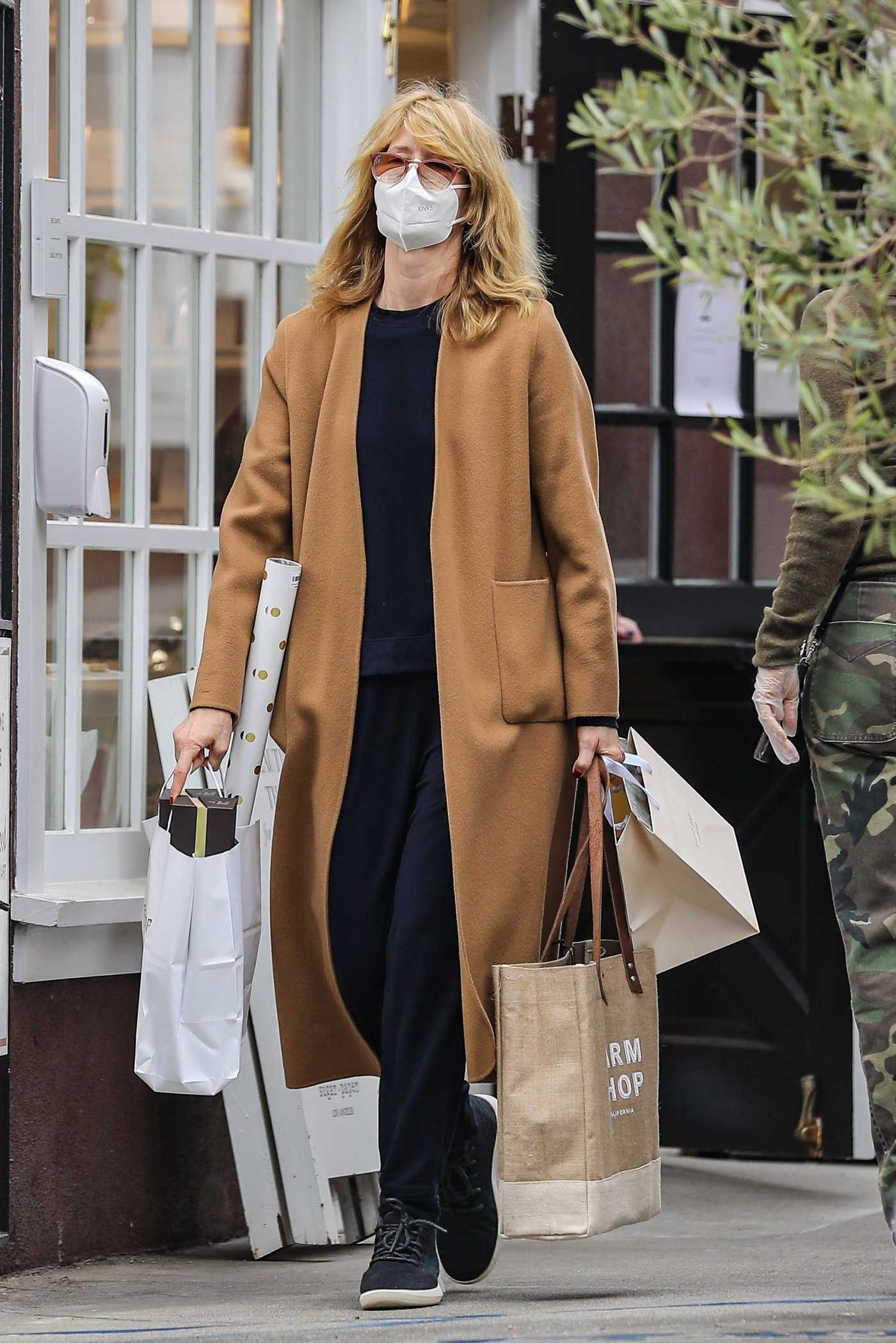 Laura Dern in a Tan Coat Goes Shopping on Christmas Eve at the Country Mart in Brentwood 12/24/2020