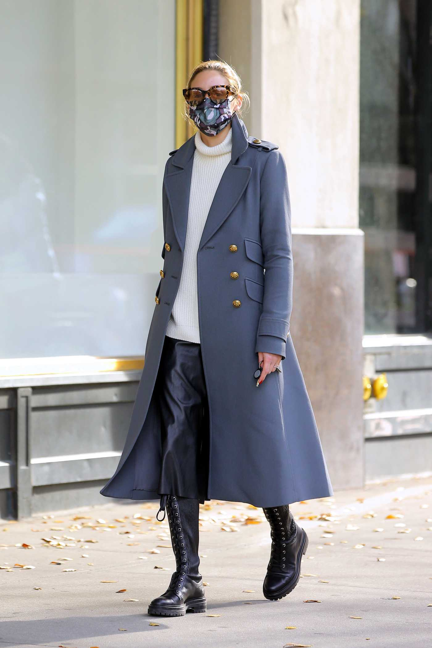 Olivia Palermo Grey Military-Style Coat Was Seen Out in Brooklyn, New York 12/13/2020