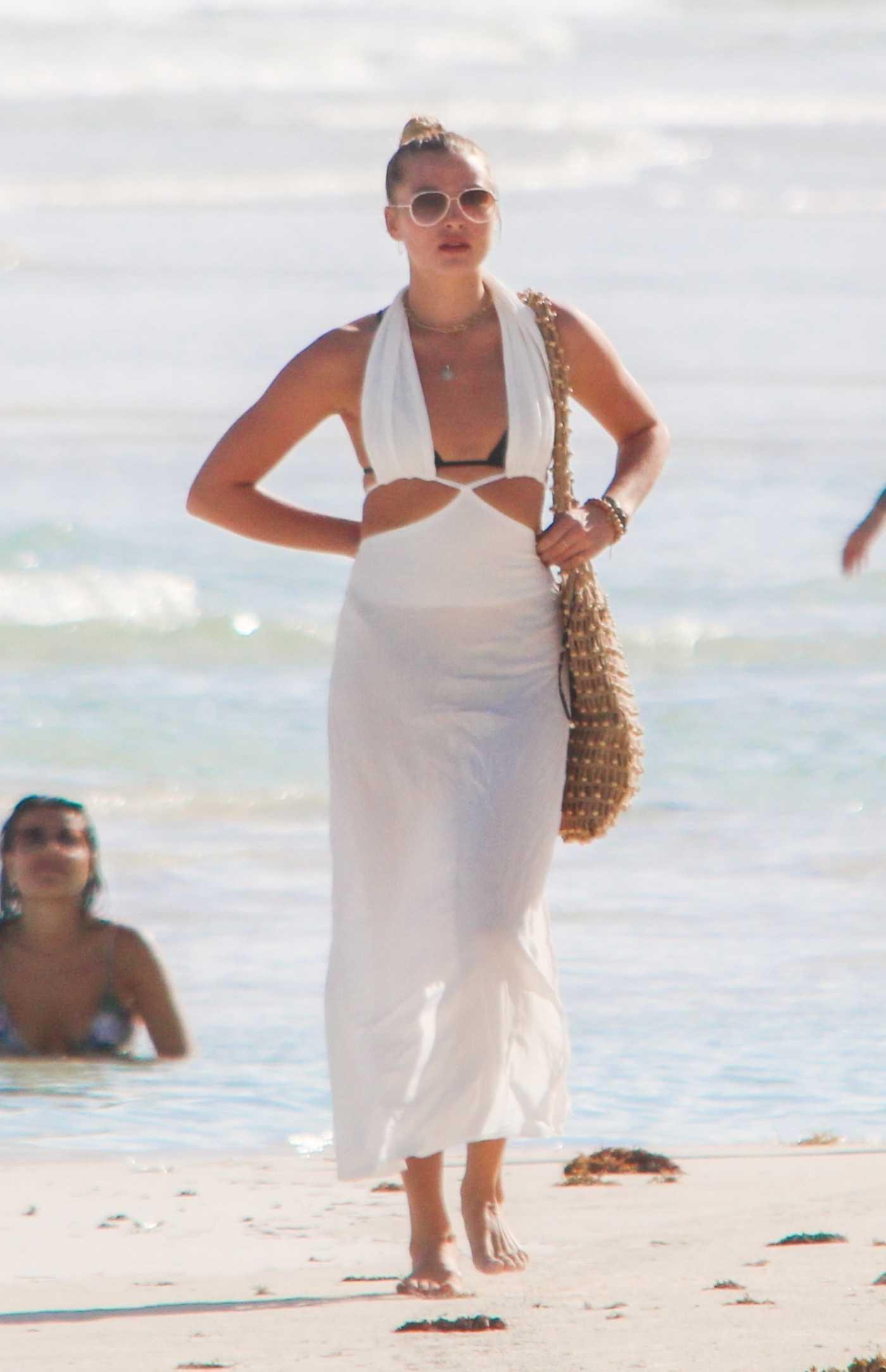 Rachel Hilbert in a Black Bikini on the Beach in Tulum 11/30/2020