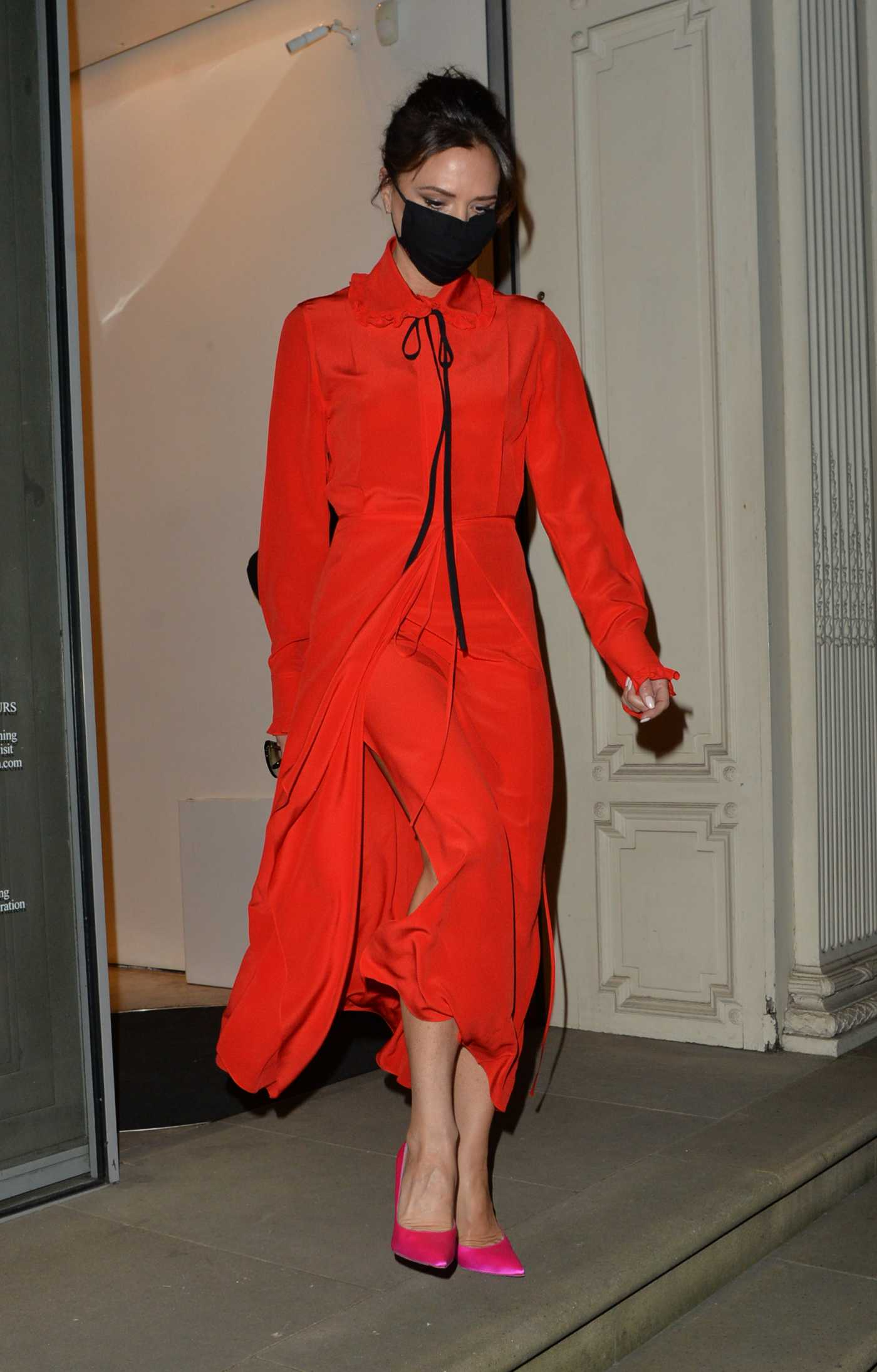 Victoria Beckham in a Red Dress Leaves Her Dover Street Shop in London 12/07/2020