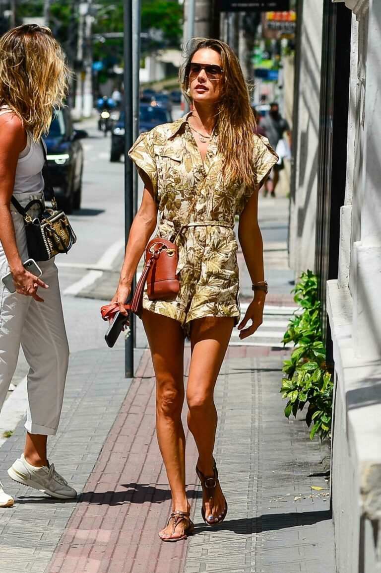 Alessandra Ambrosio in a Camo Floral Print Shorts Jumpsuit
