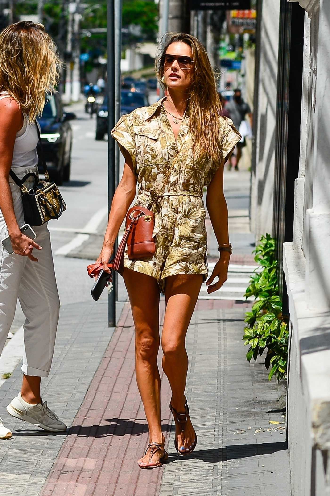 Alessandra Ambrosio in a Camo Floral Print Shorts Jumpsuit Was Seen Out in Florianopolis 01/13/2021