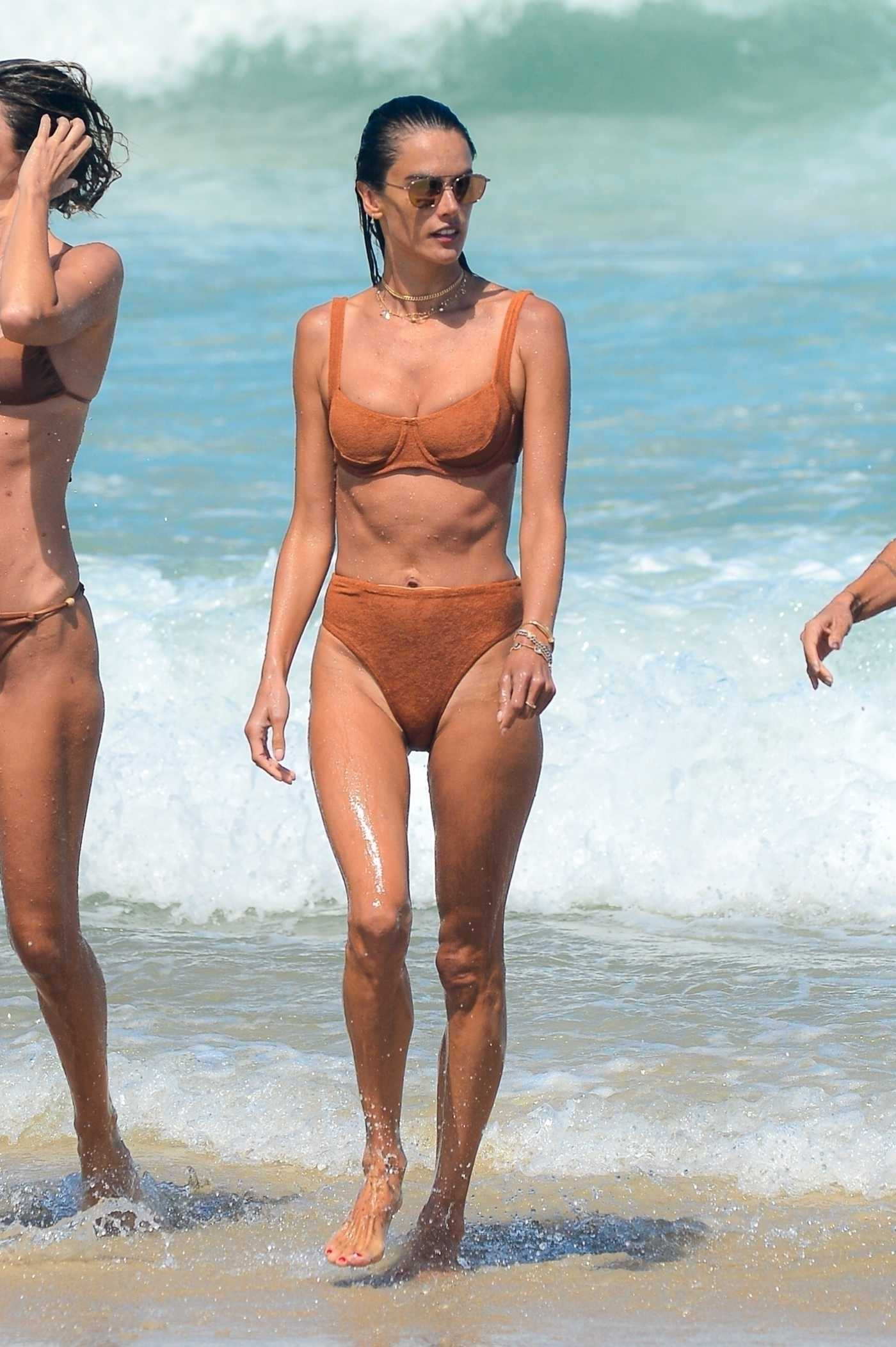 Alessandra Ambrosio in a Tan Bikini on the Beach in Florianoplis 01/22/2021