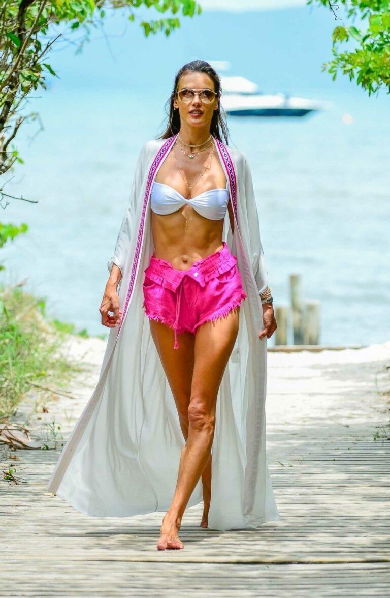 Alessandra Ambrosio in a White Bra