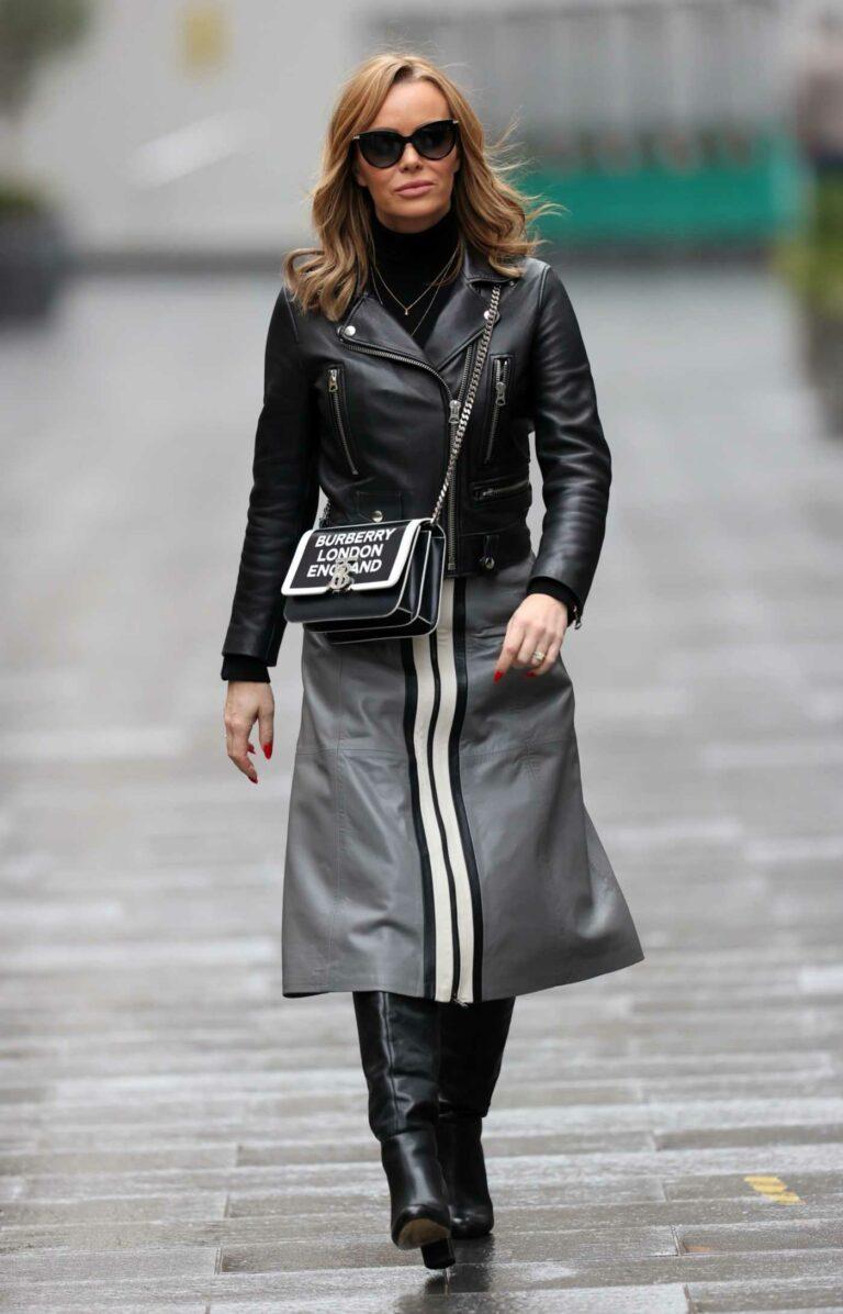 Amanda Holden in a Black Leather Jacket