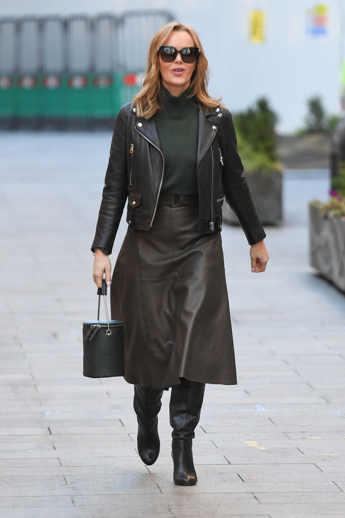 Amanda Holden in a Black Leather Jacket Arrives at the Heart Radio Studios in London 01/25/2021