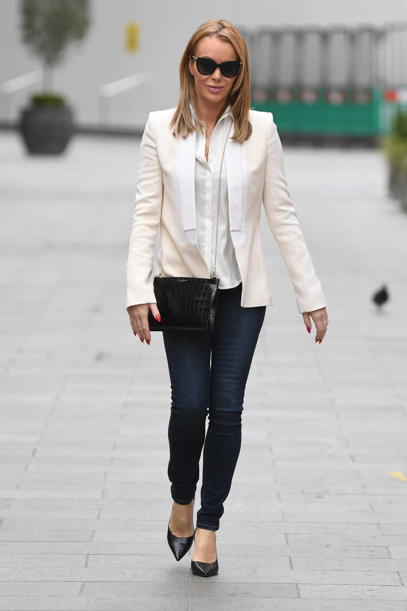Amanda Holden in a White Blazer Leaves the Global Studios in London 01/10/2021