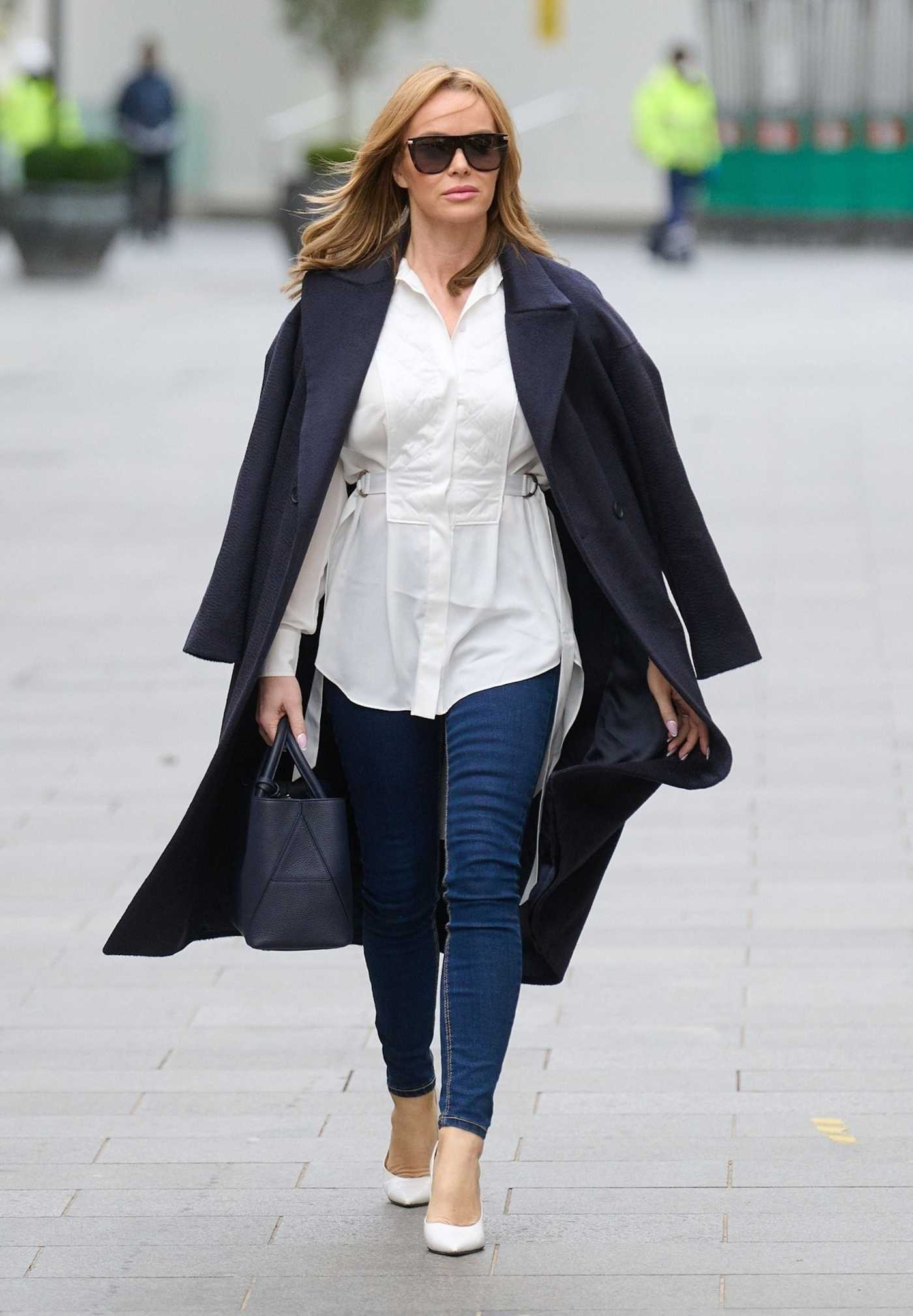 Amanda Holden in a White Blouse Leaves the Global Radio Studios in London 01/18/2021