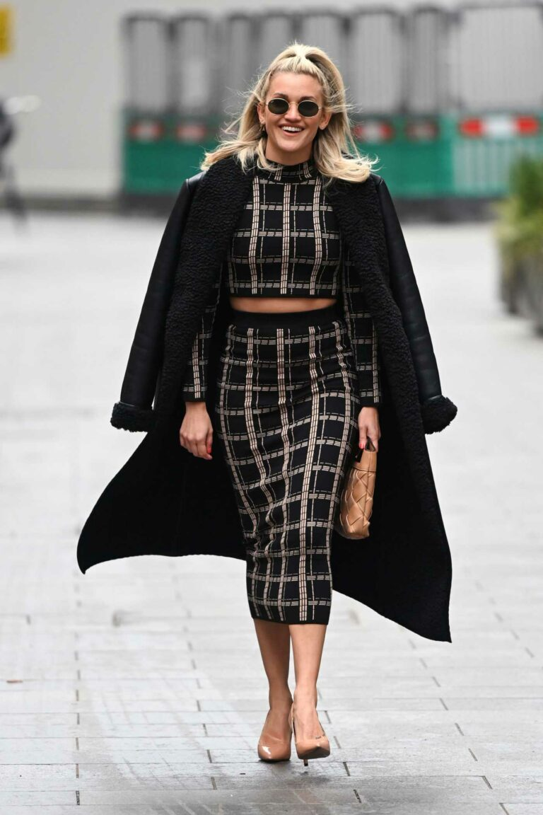 Ashley Roberts in a Black Coat