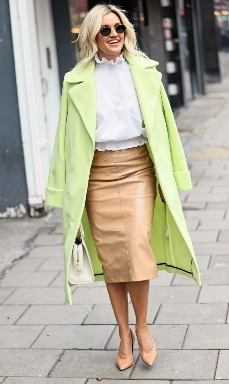 Ashley Roberts in a Neon Green Coat