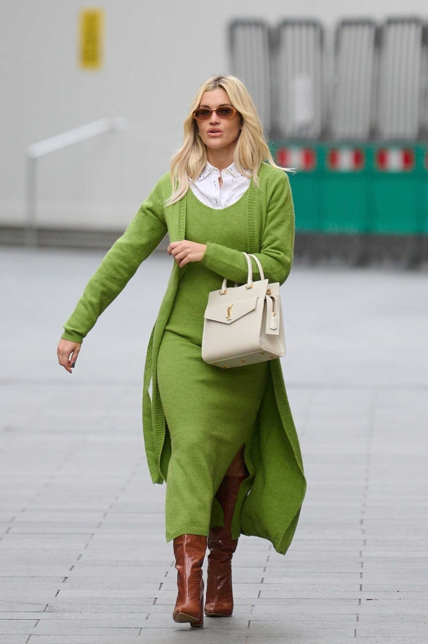 Ashley Roberts in a Neon Green Outfit Leaves the Global Radio Studios in London 01/18/2021