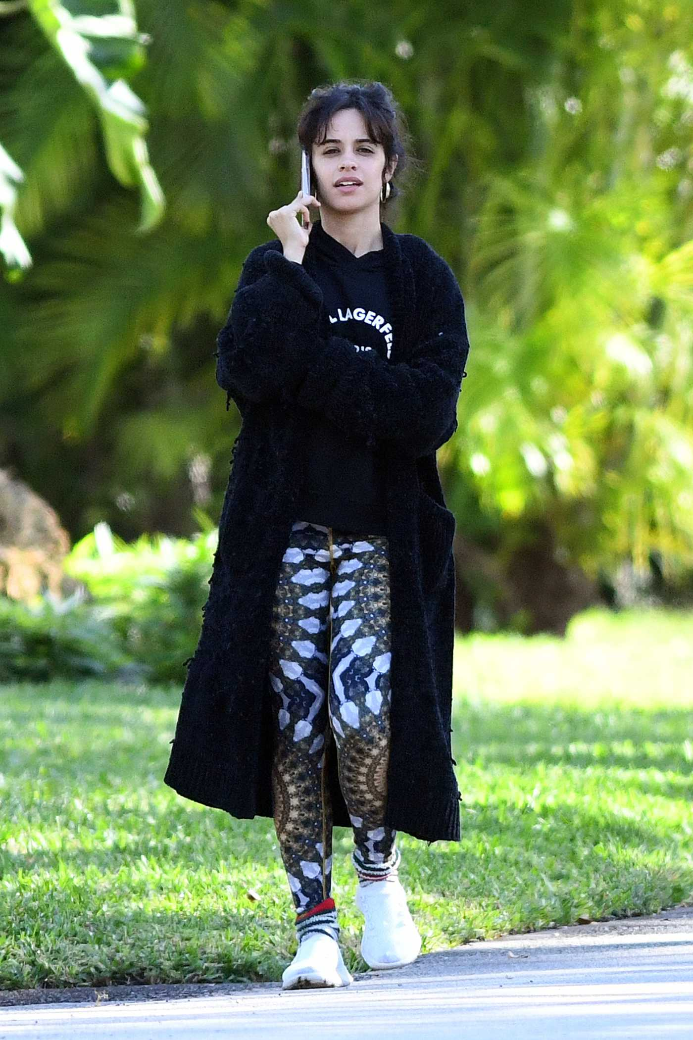 Camila Cabello in a Patterned Leggings Was Seen Out in Miami 01/21/2021
