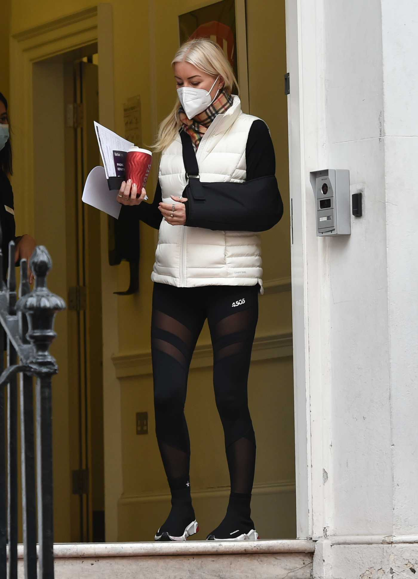 Denise Van Outen in a Black Leggings Leaves a Medical Clinic in London 01/19/2021