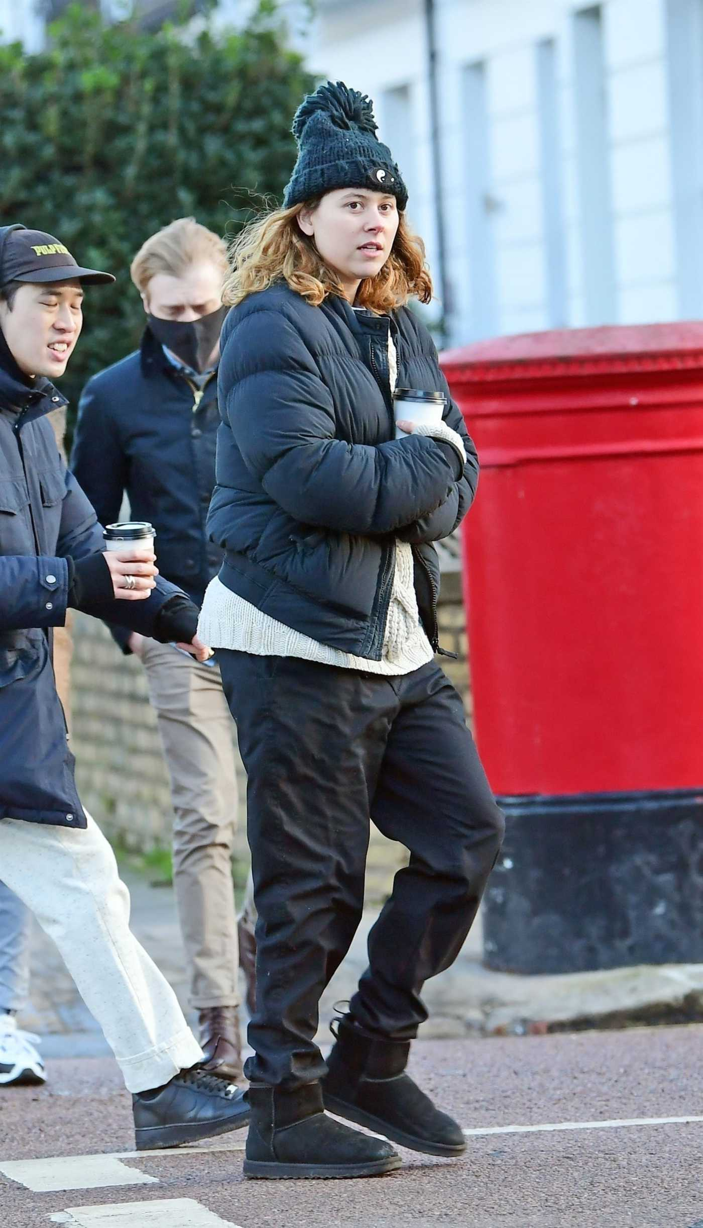 Eliza Doolittle in a Black Knit Hat Was Seen Out in North London 01/23/2021