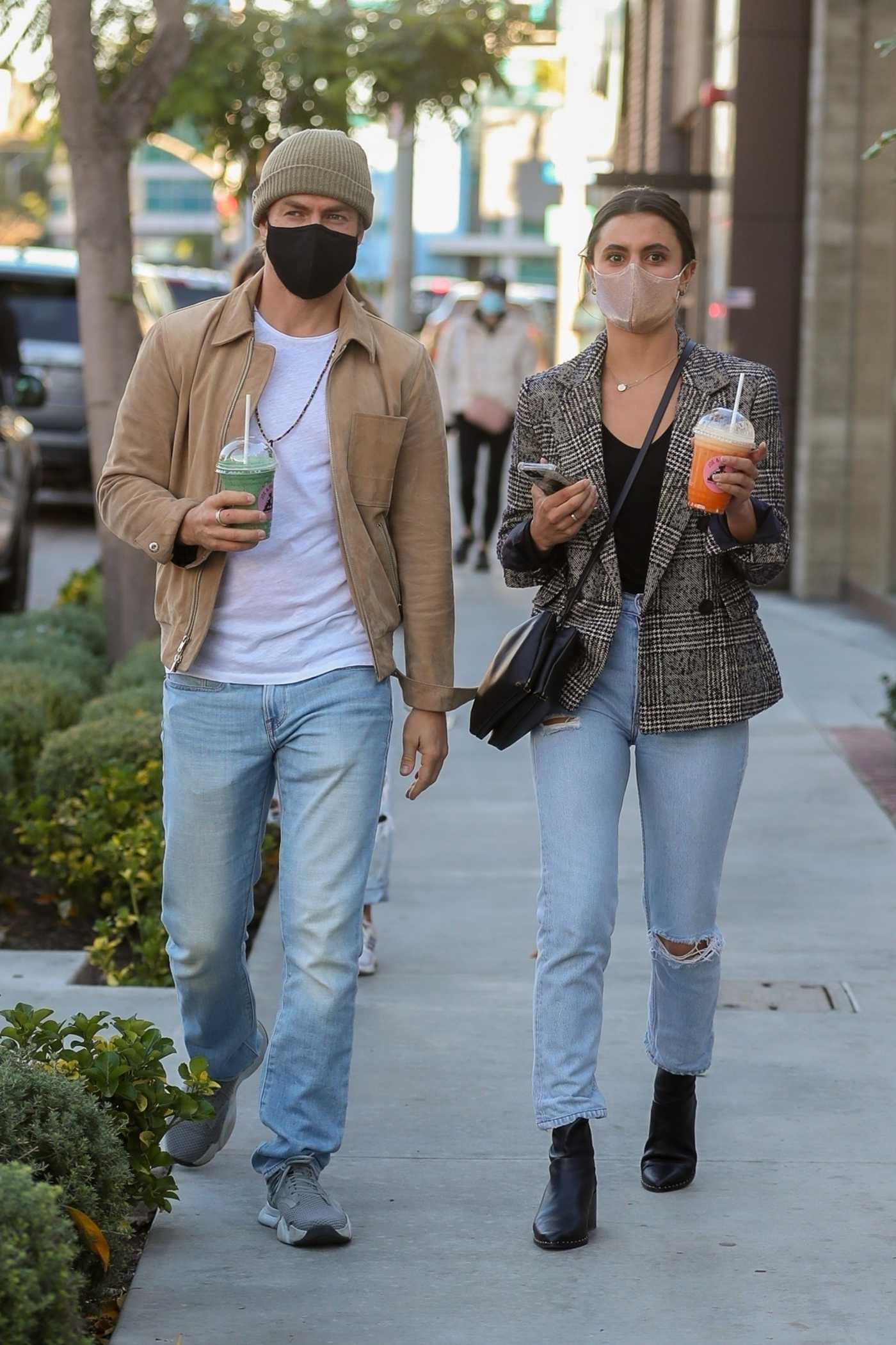 Hayley Erbert in a Grey Blazer Was Seen Out with Derek Hough on Melrose Ave in West Hollywood 01/26/2021